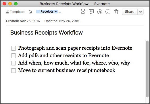 business receipts workflow template - Business Receipts